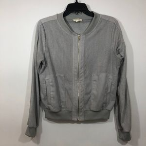 ALYTHEA Perforated Faux Suede Bomber Jacket